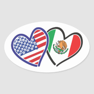 USA Mexico Heart Flags Stickers