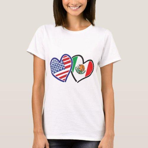 USA Mexico Heart Flags T_Shirt