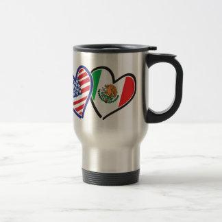 USA Mexico Heart Flags Travel Mug