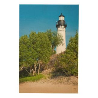 USA, Michigan. Au Sable Lighthouse On Lake Wood Wall Art