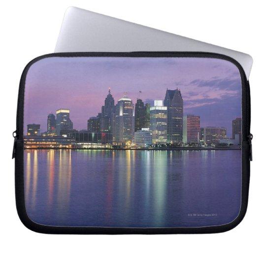 USA, Michigan, Detroit skyline, night Computer Sleeve