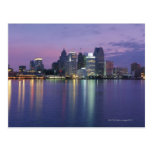 USA, Michigan, Detroit skyline, night Postcard