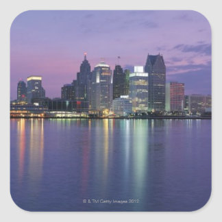 USA, Michigan, Detroit skyline, night Square Sticker