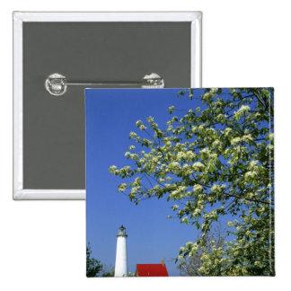 USA, Michigan, East Tawas. Tawas Lighthouse with Pinback Button
