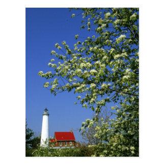 USA, Michigan, East Tawas. Tawas Lighthouse with Postcard