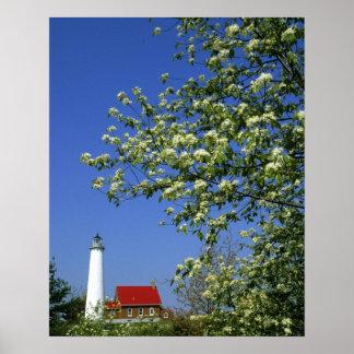 USA, Michigan, East Tawas. Tawas Lighthouse with Poster