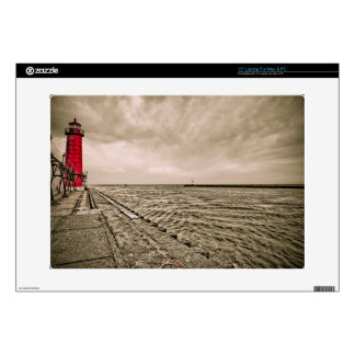 USA, Michigan, Grand Haven Lighthouse Laptop Decals