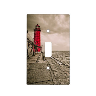 USA, Michigan, Grand Haven Lighthouse Light Switch Cover