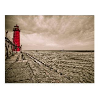 USA, Michigan, Grand Haven Lighthouse Postcard