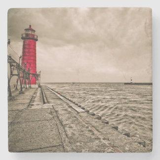 USA, Michigan, Grand Haven Lighthouse Stone Coaster