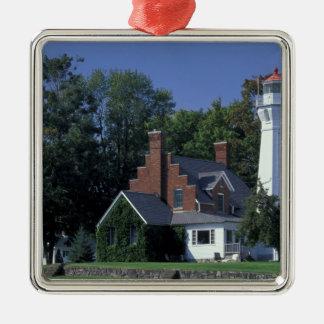 USA, Michigan, Lake Huron. Port Sanilac Square Metal Christmas Ornament
