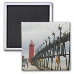 USA, Michigan, Lake Michigan Shore, Grand Haven: 2 Inch Square Magnet