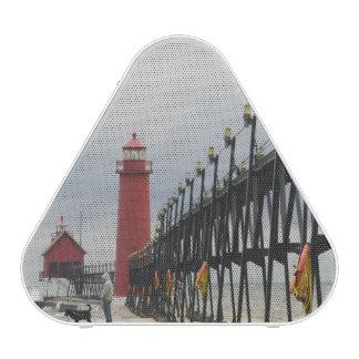 USA, Michigan, Lake Michigan Shore, Grand Haven: Bluetooth Speaker
