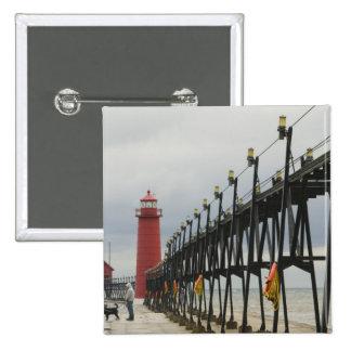 USA, Michigan, Lake Michigan Shore, Grand Haven: 2 Inch Square Button