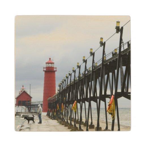 USA, Michigan, Lake Michigan Shore, Grand Haven: Wood Coaster
