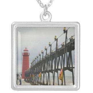 USA, Michigan, Lake Michigan Shore, Grand Haven: Silver Plated Necklace