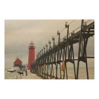 USA, Michigan, Lake Michigan Shore, Grand Haven: Wood Print
