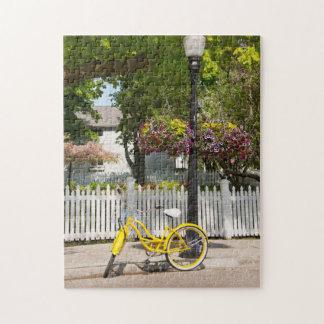 USA, Michigan, Mackinac Island. Yellow Bike Jigsaw Puzzle