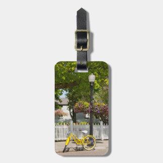 USA, Michigan, Mackinac Island. Yellow Bike Luggage Tags