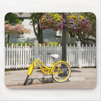 USA, Michigan, Mackinac Island. Yellow Bike Mouse Pad