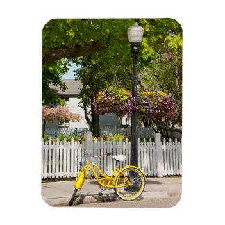 USA, Michigan, Mackinac Island. Yellow Bike Rectangular Photo Magnet