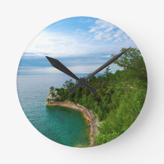 USA, Michigan. Miner's Castle Rock Formation 3 Round Wall Clock