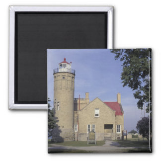 USA, Michigan Old Mackinac Point Lighthouse 2 Inch Square Magnet