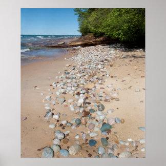 USA, Michigan. Pebbles Along 12 Mile Beach Poster