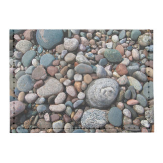 USA, Michigan. Polished Pebbles On The Shore Card Wallet
