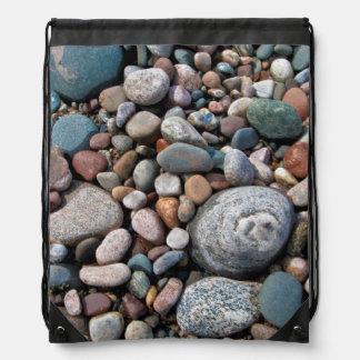 USA, Michigan. Polished Pebbles On The Shore Drawstring Backpack