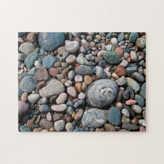 USA, Michigan. Polished Pebbles On The Shore Jigsaw Puzzle
