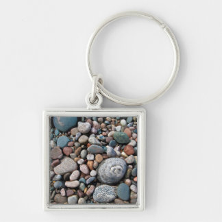 USA, Michigan. Polished Pebbles On The Shore Silver-Colored Square Keychain
