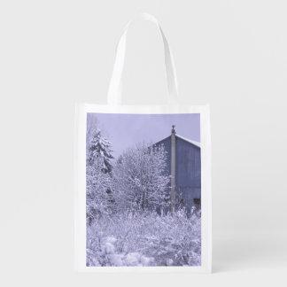 USA, Michigan, Rochester Hills. Snowy blue Grocery Bag