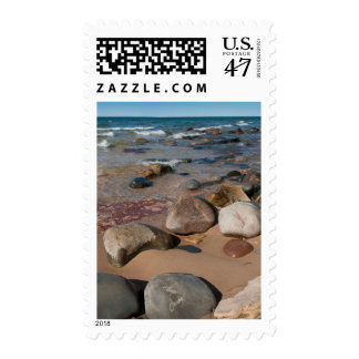 USA, Michigan. Rounded Boulders On 12 Mile Postage