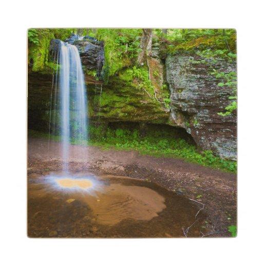 USA, Michigan. Scott's Falls In Upper Michigan Maple Wood Coaster