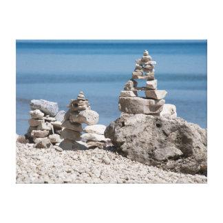 USA, Michigan. Stone Towers On The Beach Canvas Print