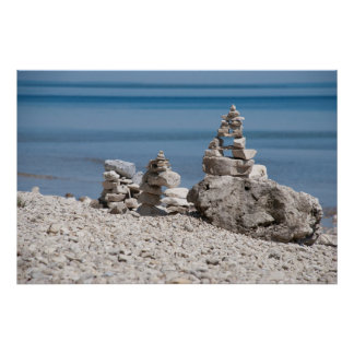 USA Michigan Stone Towers On The Beach Posters
