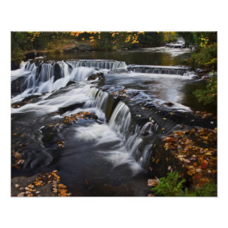 USA, Michigan, Upper Peninsula. Bond Falls and Poster