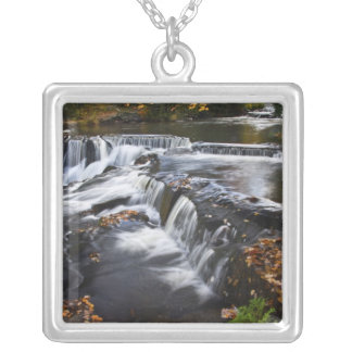 USA, Michigan, Upper Peninsula. Bond Falls and Silver Plated Necklace