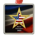 USA Military  - Gold Star - Flag Ornament