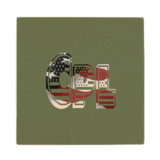 USA Military Green American Cpl Corporal Wooden Coaster