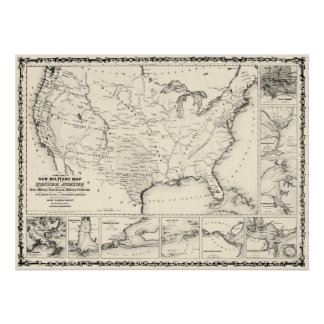 USA Military Map 1861 Vintage Poster