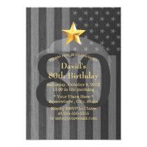 USA Military Veteran Bald Eagle Birthday Party Invitation