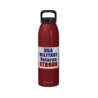 USA Military Veteran Strong Drinking Bottle