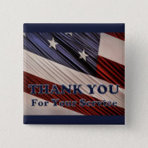 USA Military Veterans Patriotic Flag Thank You Pinback Button