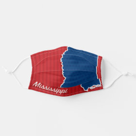 USA Mississippi State Stars and Stripes Map Cloth Face Mask