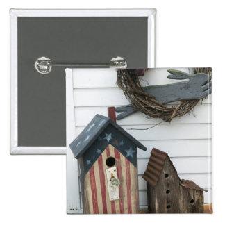 USA, Missouri, Herman: Patriotic Birdhouses, Pinback Button