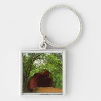 USA, Missouri, Jefferson County, Sandy Creek Silver-Colored Square Keychain
