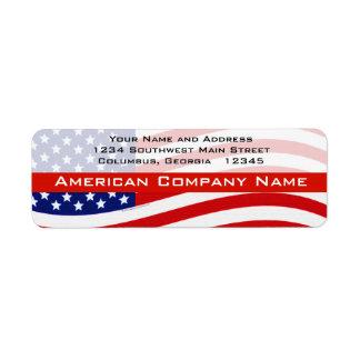 USA Modern Waving Flag Label
