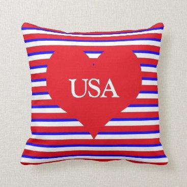 USA Themed USA Monogram Heart on Red White & Blue Stripes Throw Pillow